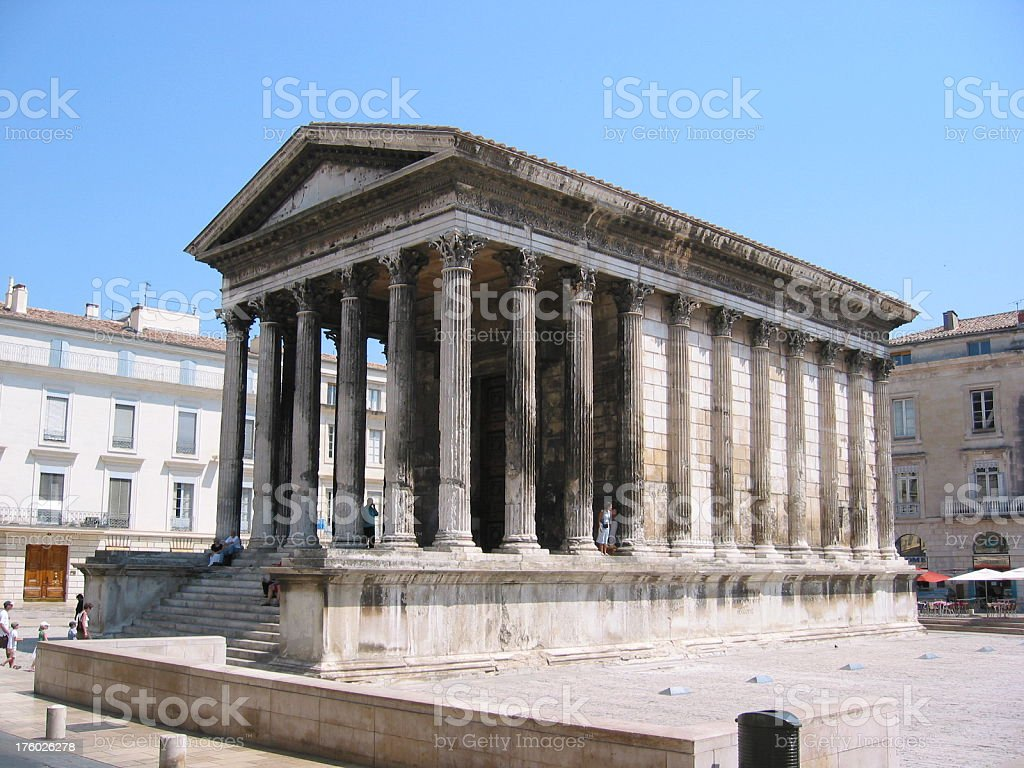 Greek styled Temple - La Maison Carree stock photo