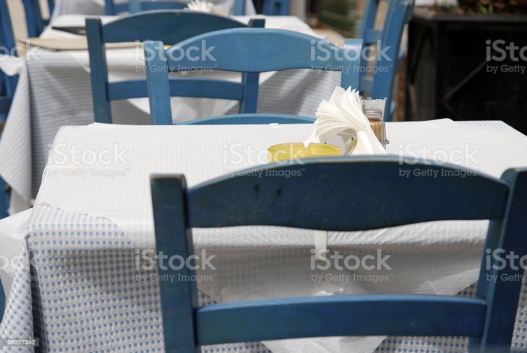 greek tables for two royalty-free stock photo