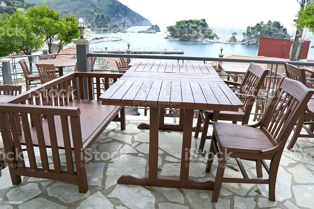greek tavern with sea view parga greece stock photo