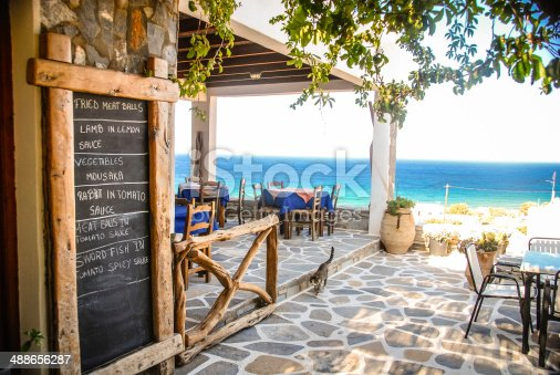 A Taverna in Ios, Greece with the chalk menu-board outside