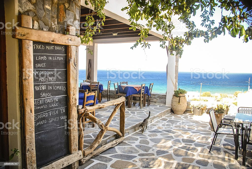Greek Taverna with a View stock photo