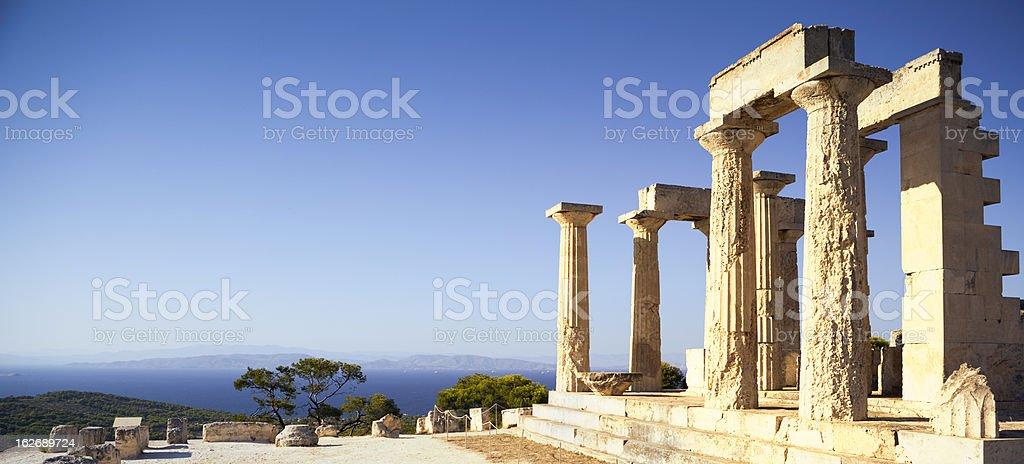 Greek temple and Mediteranean Sea royalty-free stock photo