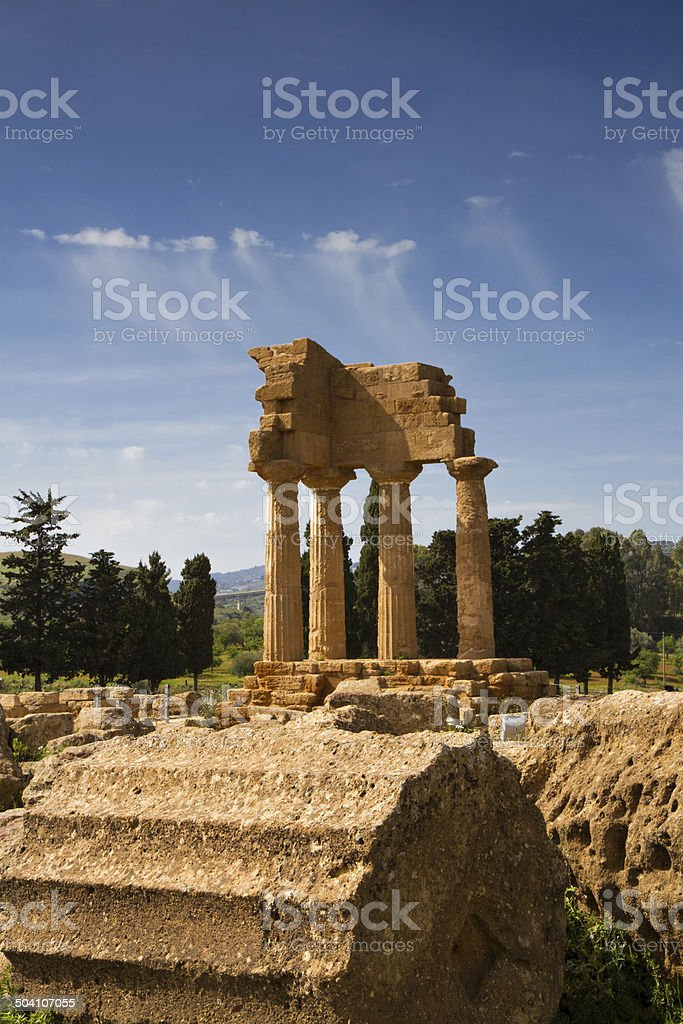 Greek Temple of Castor and Pollux stock photo