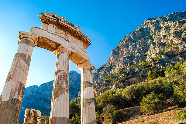 temple grec - grece photos et images de collection