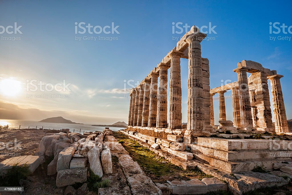 Greek temple Poseidon, Cape Sounion in Greece stock photo