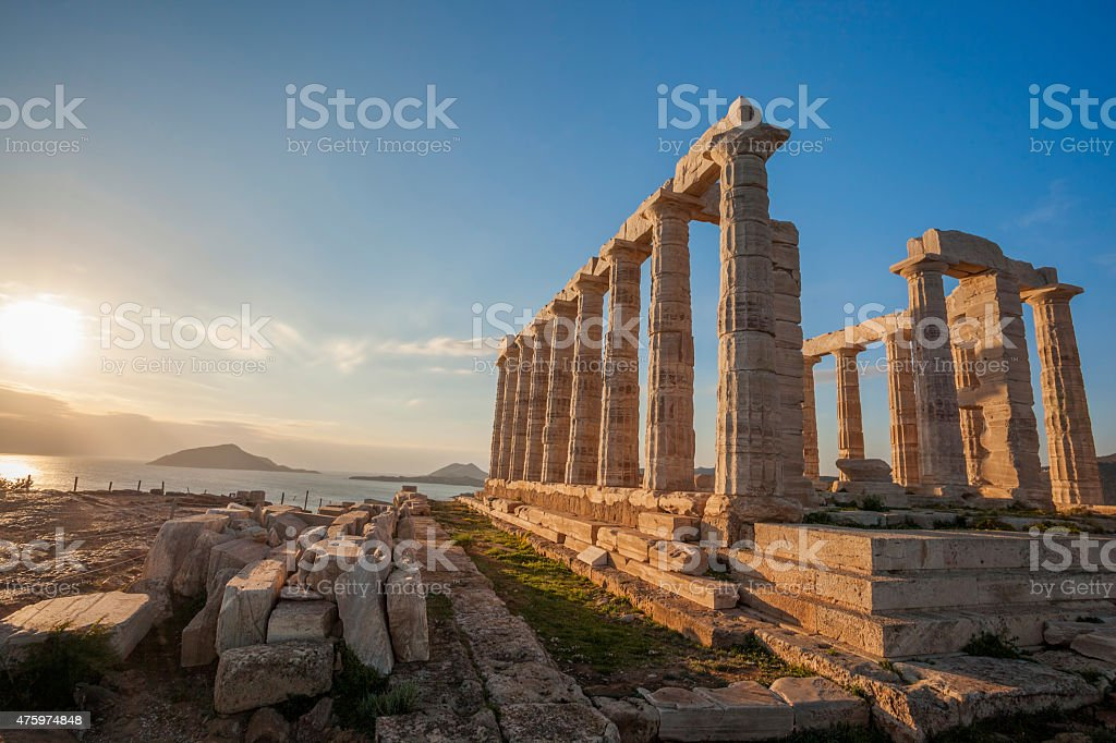 Greek temple Poseidon, Cape Sounion in Greece stock photo