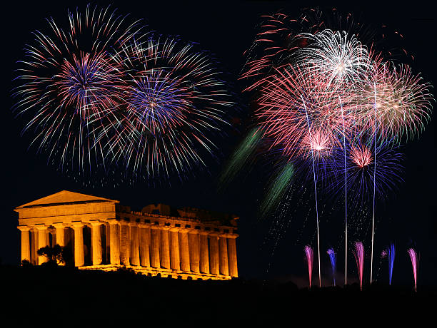 Greek temple with fireworks stock photo
