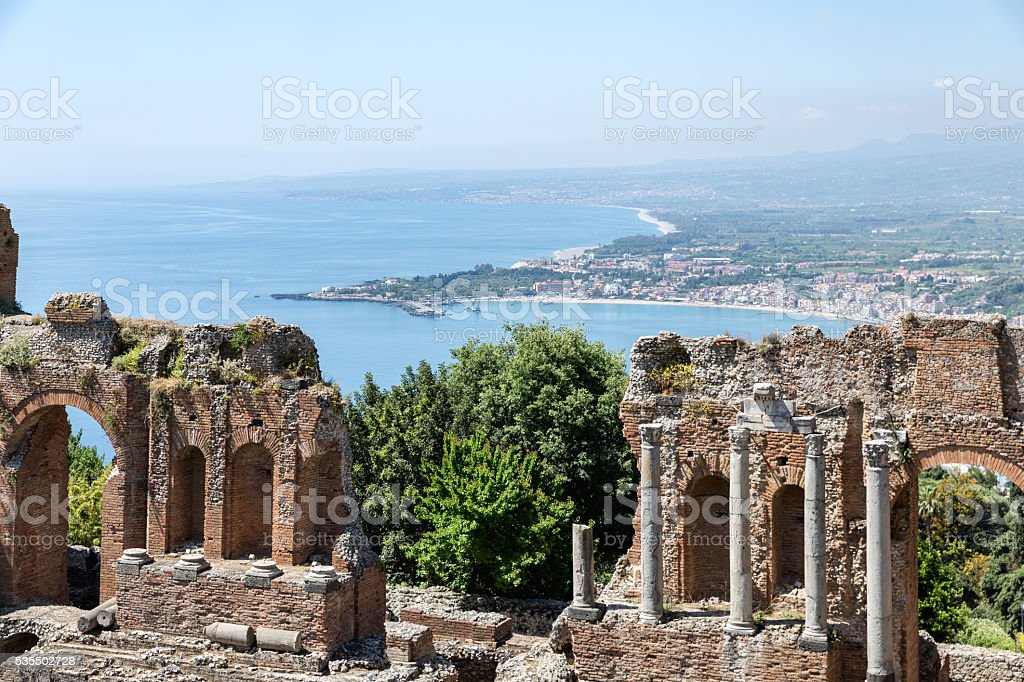 Greek theater Taormina city with a panorama at Siciliy stock photo