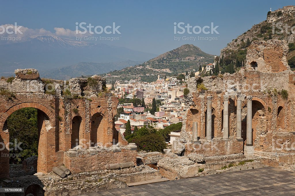 Greek Theatre at Taormina, Sicily, Italy royalty-free stock photo