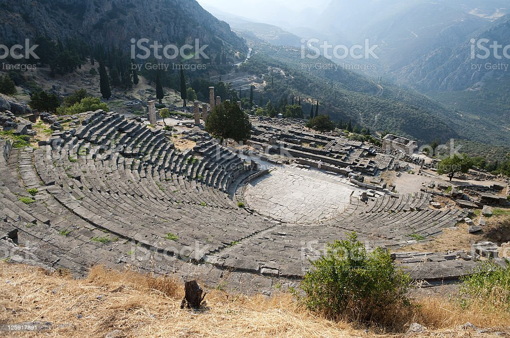 Greek Theatre in Delphi stock photo