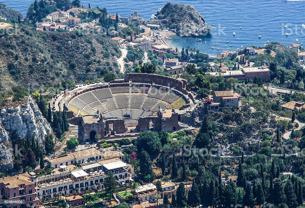Greek Theatre of Taormina Sicily stock photo