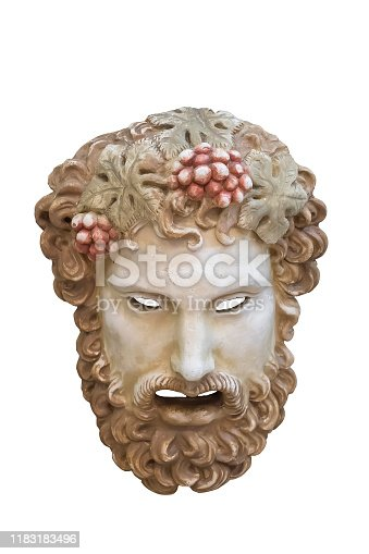 istock Greek theatrical mask of Dionysus. 1183183496