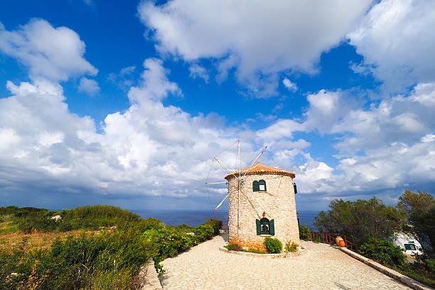 Greek traditional windmill on the island of Zakynthos, at Keri stock photo