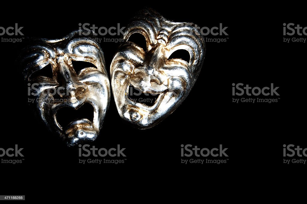 Greek tragedy and comedy masks stock photo