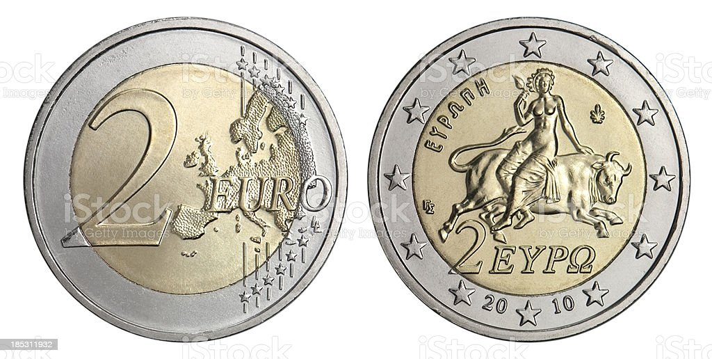 Greek Two Euro Coin stock photo
