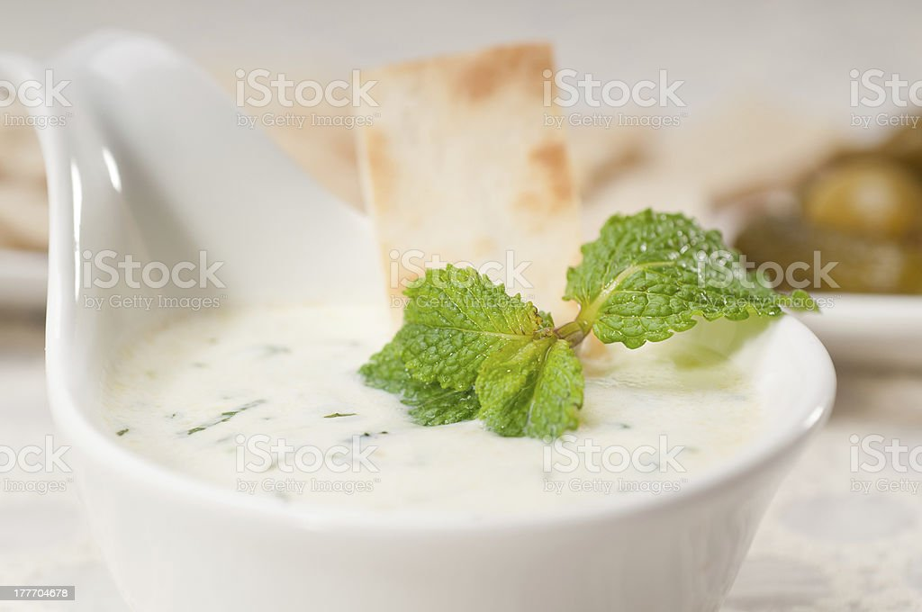 Greek Tzatziki yogurt dip and pita bread stock photo