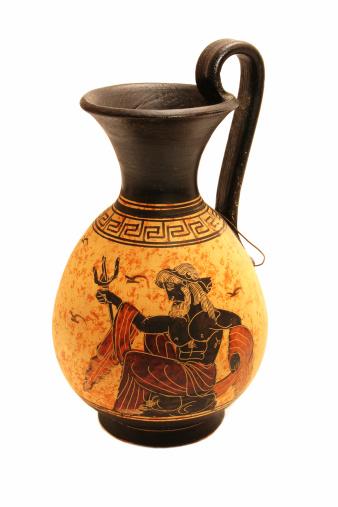 Greek vase with Poseidon painting on white isolated background