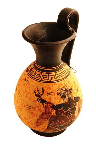 Greek vase with neptune painting stock photo