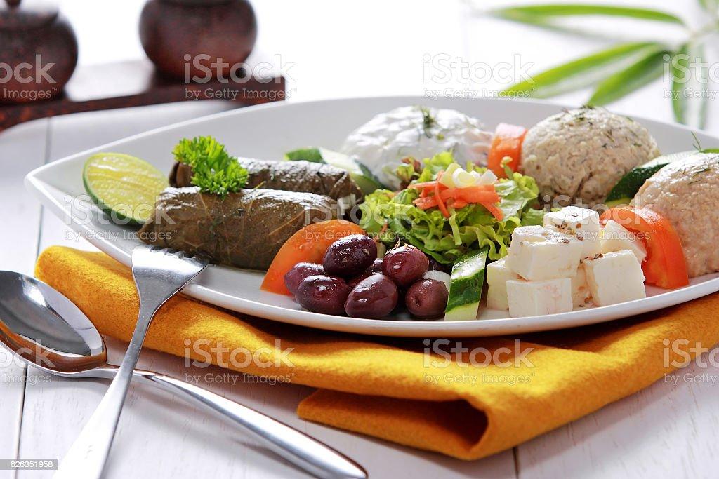 Greek vegetarian food mix pikilia stock photo