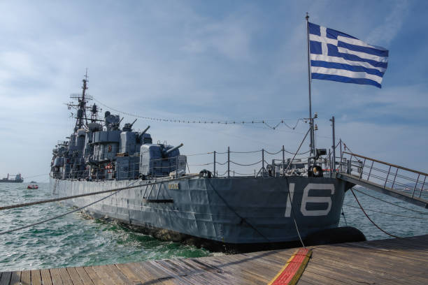 Greek warship destroyer Velos D-16 at waterfront. Currently a floating museum operated by Hellenic Navy, the ship launched in 1941 as USS Charrette DD-581. stock photo