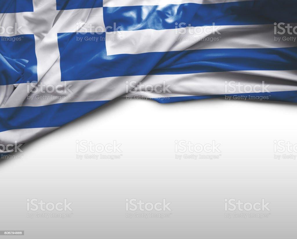 Greek waving flag stock photo