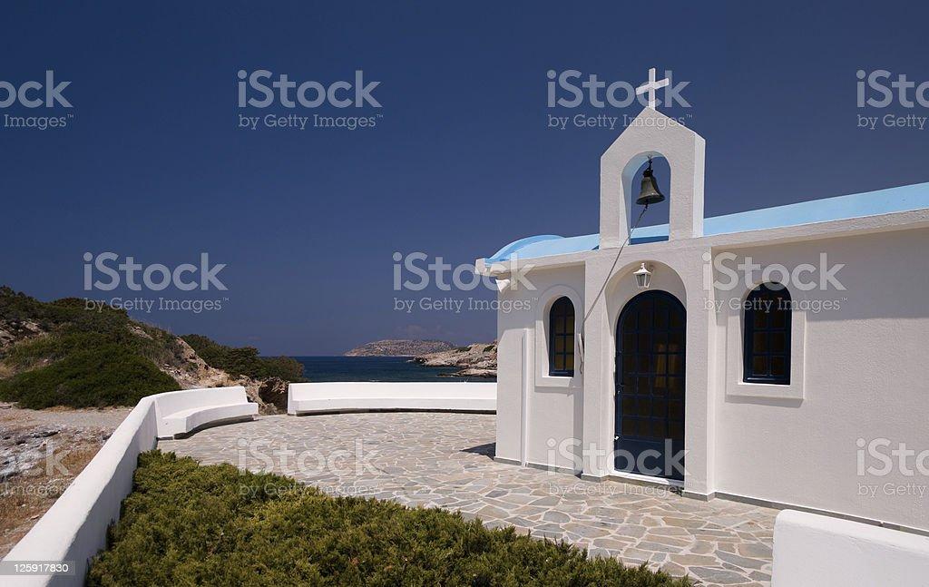 Greek White Chapel royalty-free stock photo