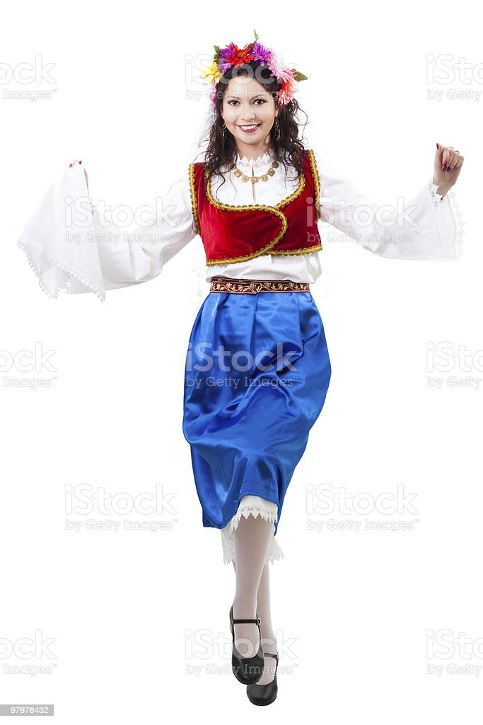 Greek woman squat dancing royalty-free stock photo