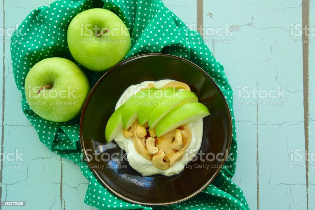 Greek yogurt apple and cashew royalty-free stock photo