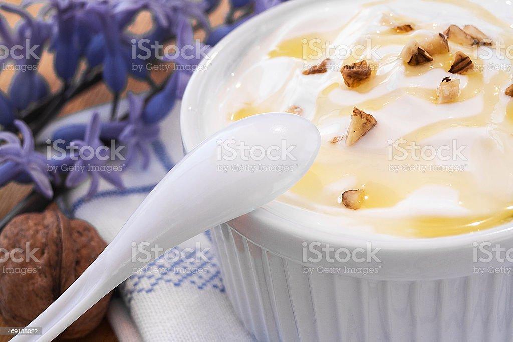 Greek Yogurt with honey and nuts stock photo