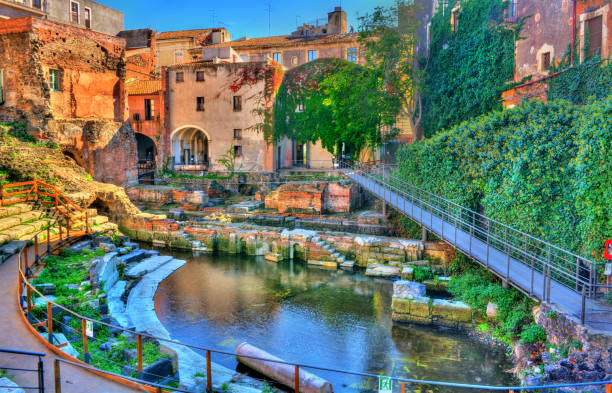 Greek-Roman Theatre of Catania in Sicilia, Italy Greek-Roman Theatre of Catania in Sicilia - Italy catania stock pictures, royalty-free photos & images