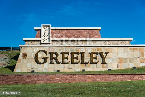 The sign at the city limits of Greeley in the state of Colorado, USA.