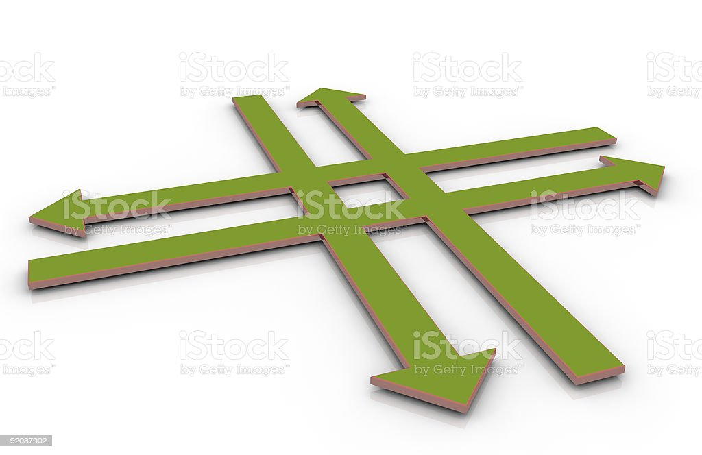 Green 3d crossroad concept royalty-free stock photo