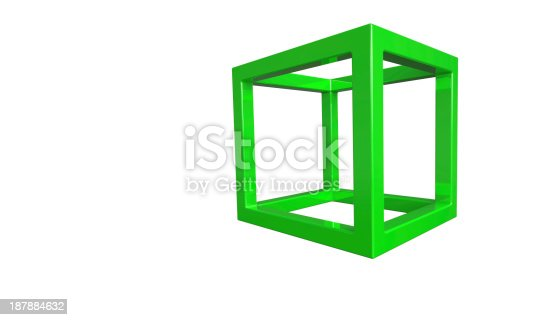 453066423 istock photo Green 3d cube frame structure isolated on white 187884632