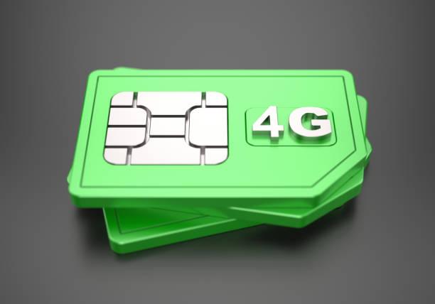 green 4g sim-cards - 4g foto e immagini stock