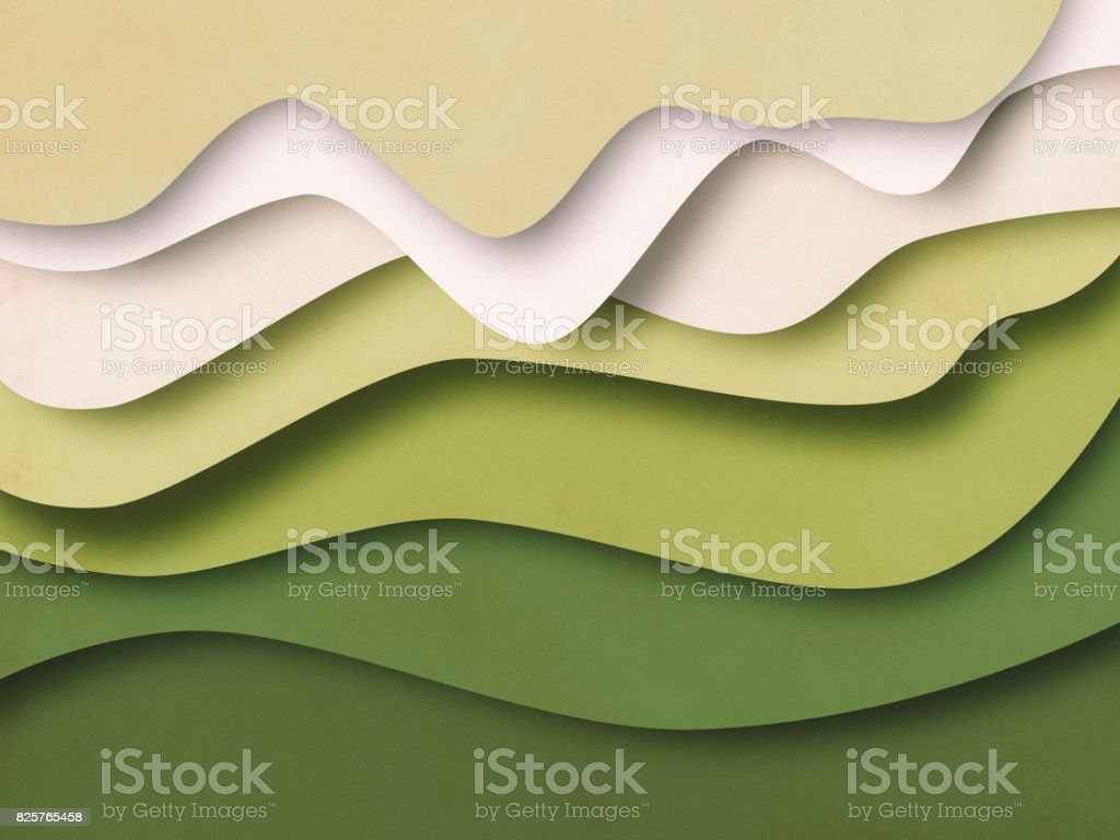 Green Abstract Background, paper cutting style stock photo