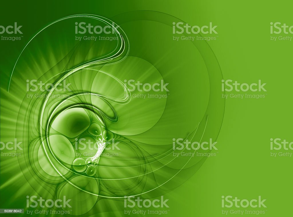 Green abstract background with bubbles and rays. stock photo