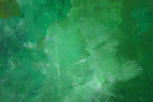 Green abstract painting with lots of texture