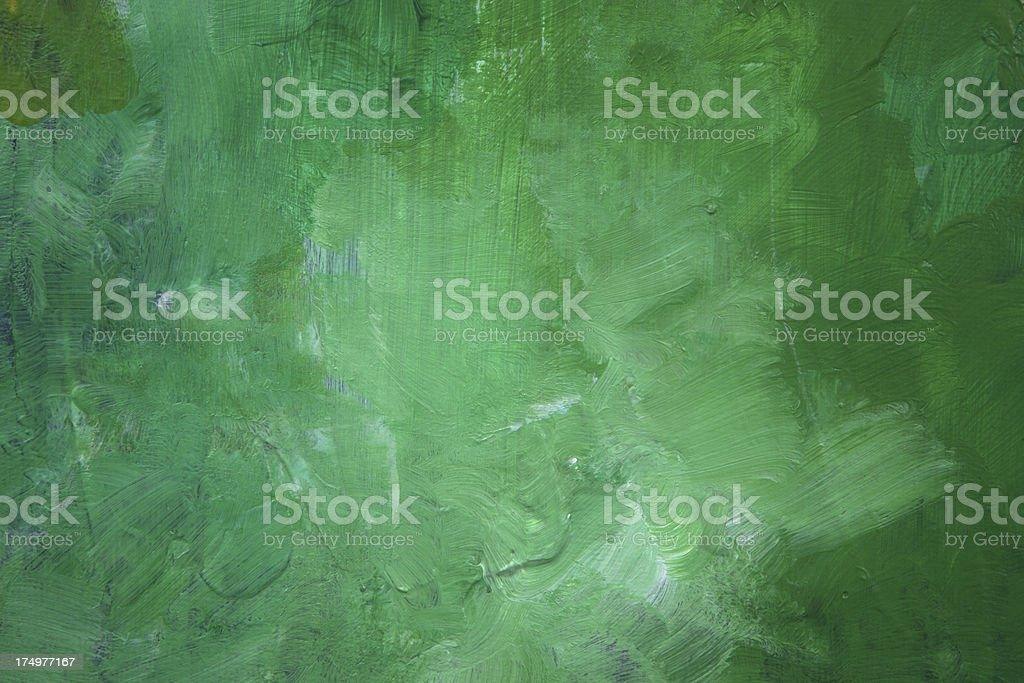 Green abstract painting with textures stock photo