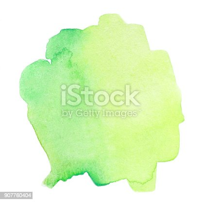 istock Green Abstract watercolor splash. Wet  Watercolour drop for your design. 907760404