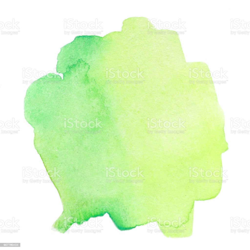 Green Abstract watercolor splash. Wet  Watercolour drop for your design. stock photo