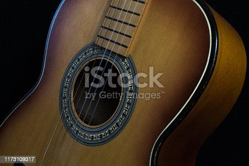 1014432572istockphoto Green acoustic guitar. 1173109317