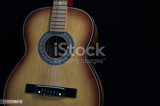 1014432572istockphoto Green acoustic guitar. 1173109318