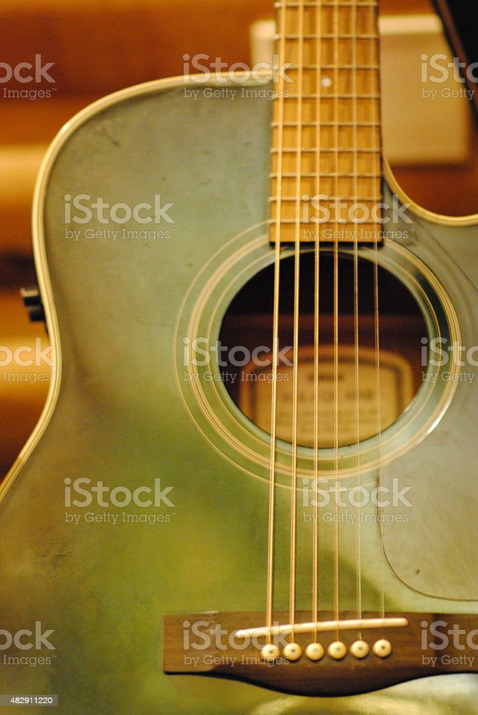 Green Acoustic Guitar stock photo