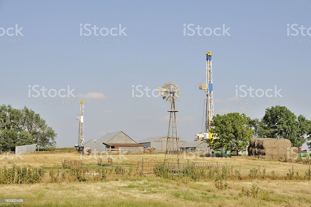 Green Acres and Oil Wells stock photo