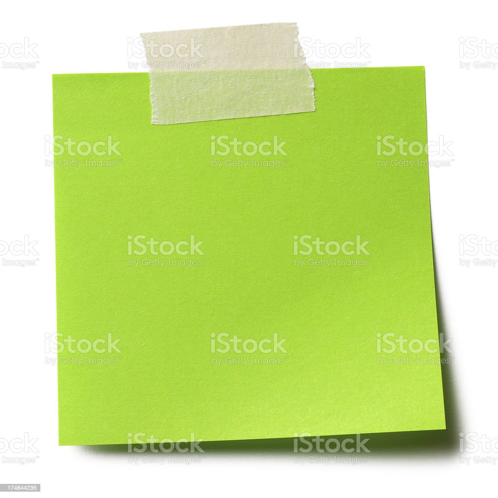 Green adhesive note stock photo