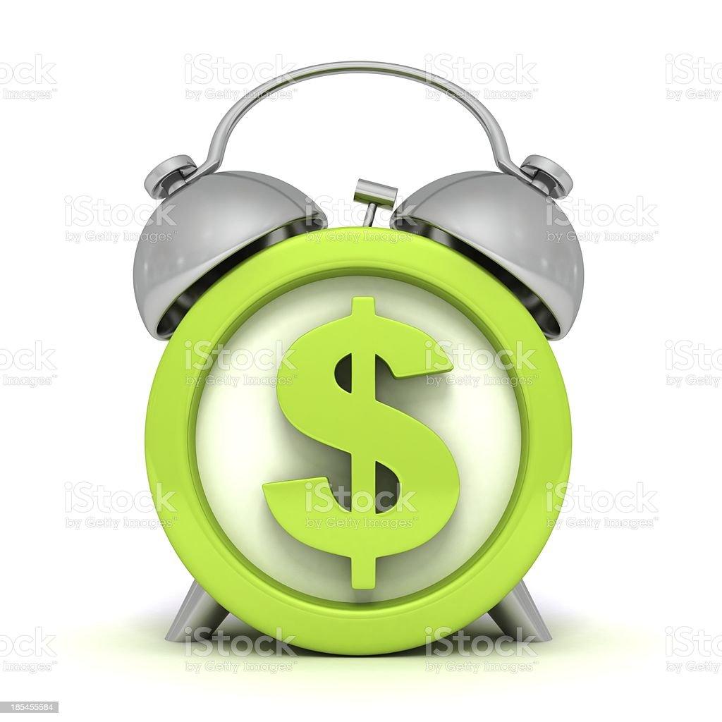Grüne Wecker mit dollar-symbol auf clockface – Foto