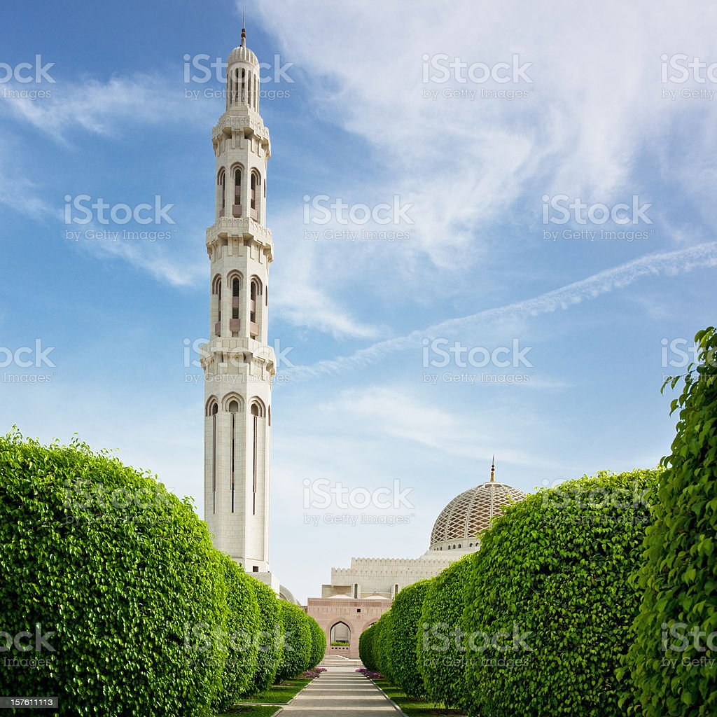 Green Alley Towards Sultan Qaboos Grand Mosque Masqat Oman royalty-free stock photo