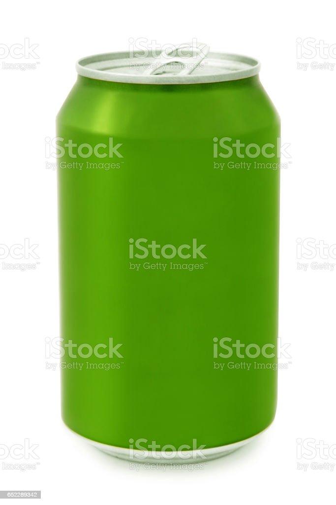 Green aluminum Can stock photo