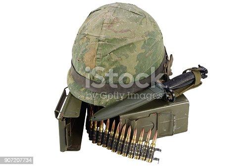 907208642 istock photo Green Ammo Box with ammunition belt and helmet 907207734