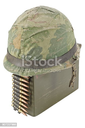 907208642 istock photo Green Ammo Box with ammunition belt and helmet 907207966
